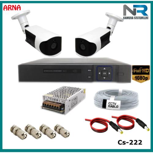 Güvenlik Kamerası Sistemi 2 Kameralı AHD 1080P ( Cs 222) Hardisksiz