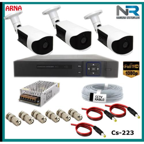 Güvenlik Kamerası Sistemi 3 Kameralı AHD 1080P ( Cs 223) Hardisksiz
