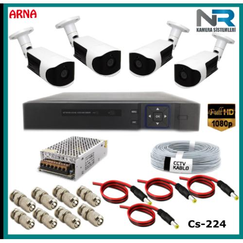 Güvenlik Kamerası Sistemi 4 Kameralı AHD 1080P ( Cs 224) Hardisksiz