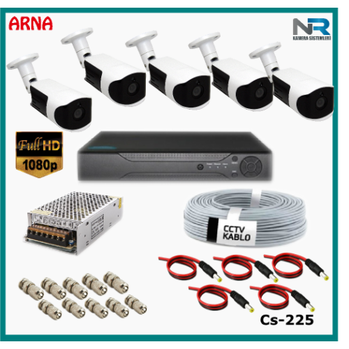 Güvenlik Kamerası Sistemi 5 Kameralı AHD 1080P ( Cs 225) Hardisksiz