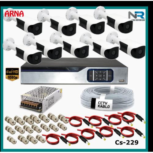 Güvenlik Kamerası Sistemi 9 Kameralı AHD 1080P ( Cs 229) Hardisksiz