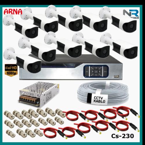 Güvenlik Kamerası Sistemi 10 Kameralı AHD 1080P ( Cs 230) Hardisksiz