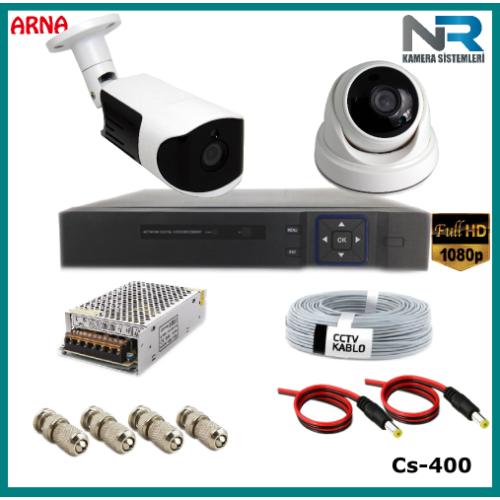 2 Kameralı (1 iç 1 dış) Güvenlik Kamerası Sistemi AHD 1080P ( Cs 400) Hardisksiz