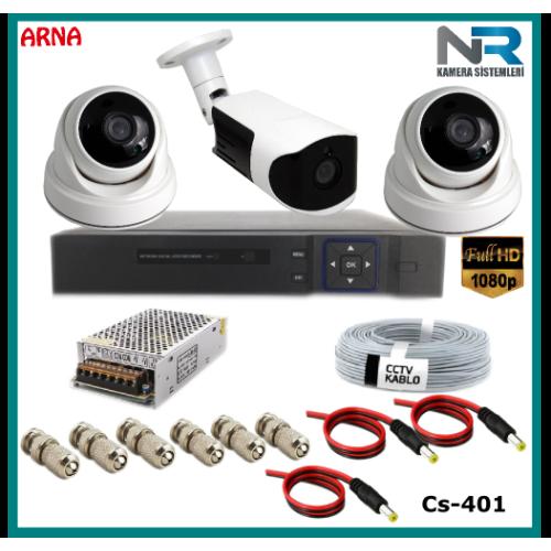 3 Kameralı (2 iç 1 dış) Güvenlik Kamerası Sistemi AHD 1080P ( Cs 401) Hardisksiz