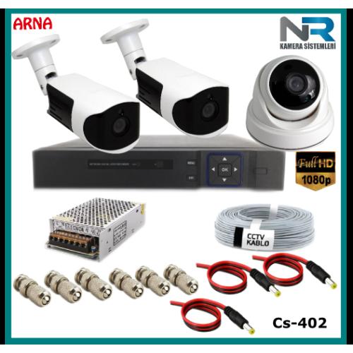 3 Kameralı (1 iç 2 dış) Güvenlik Kamerası Sistemi AHD 1080P ( Cs 402) Hardisksiz