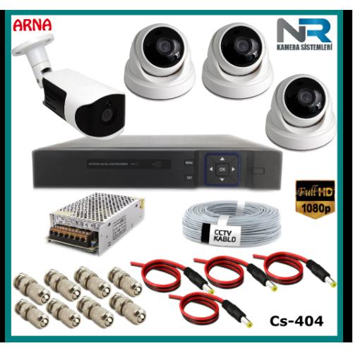 4 Kameralı (3 iç 1 dış) Güvenlik Kamerası Sistemi AHD 1080P ( Cs 404) Hardisksiz