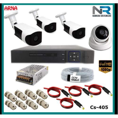 4 Kameralı (1 iç 3 dış) Güvenlik Kamerası Sistemi AHD 1080P ( Cs 405) Hardisksiz