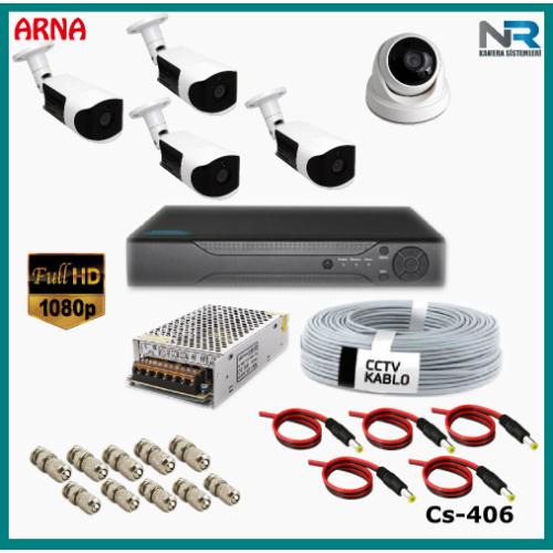 5 Kameralı (1 iç 4dış) Güvenlik Kamerası Sistemi AHD 1080P ( Cs 406) Hardisksiz