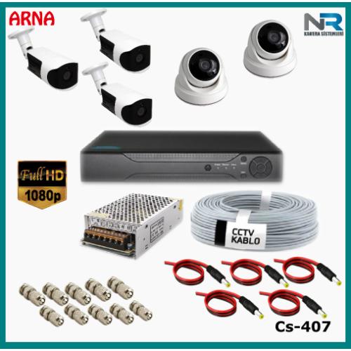 5 Kameralı (2 iç 3 dış) Güvenlik Kamerası Sistemi AHD 1080P ( Cs 407) Hardisksiz