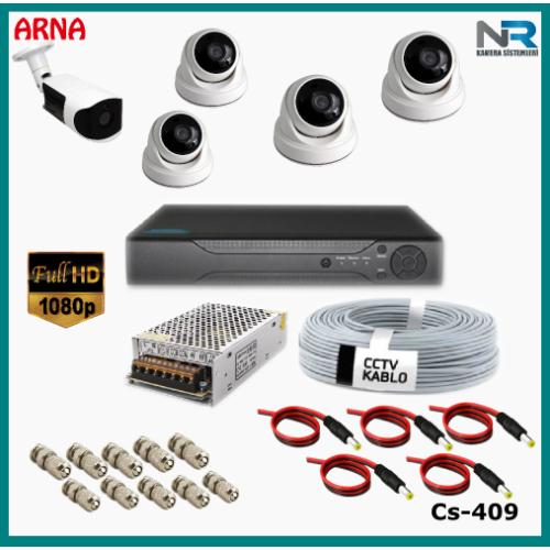 5 Kameralı (4 iç 1 dış) Güvenlik Kamerası Sistemi AHD 1080P ( Cs 409) Hardisksiz
