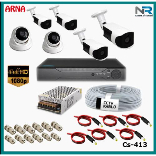 6 Kameralı (2 iç 4 dış) Güvenlik Kamerası Sistemi AHD 1080P ( Cs 413) Hardisksiz