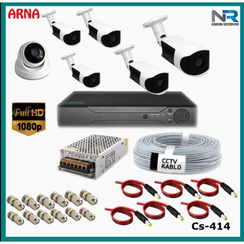 6 Kameralı (1 iç 5 dış) Güvenlik Kamerası Sistemi AHD 1080P ( Cs 414) Hardisksiz