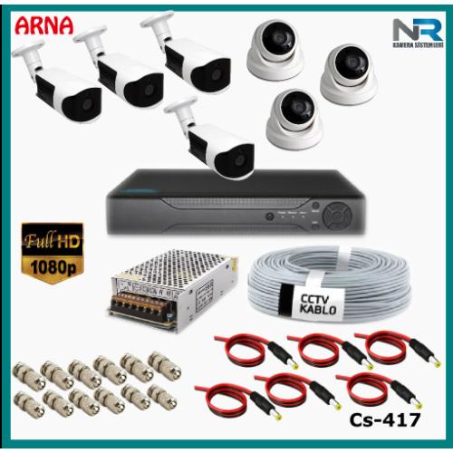 7 Kameralı (3 iç 4 dış) Güvenlik Kamerası Sistemi AHD 1080P ( Cs 417) Hardisksiz