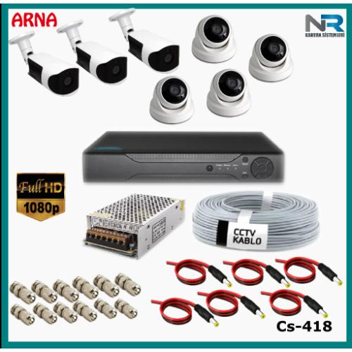 7 Kameralı (4 iç 3 dış) Güvenlik Kamerası Sistemi AHD 1080P ( Cs 418) Hardisksiz