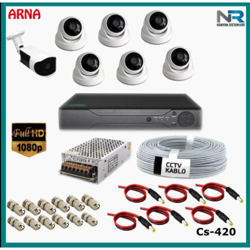 7 Kameralı (6 iç 1 dış) Güvenlik Kamerası Sistemi AHD 1080P ( Cs 420) Hardisksiz