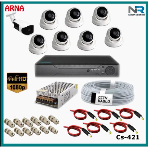 8 Kameralı (7 iç 1 dış) Güvenlik Kamerası Sistemi AHD 1080P ( Cs 421) Hardisksiz