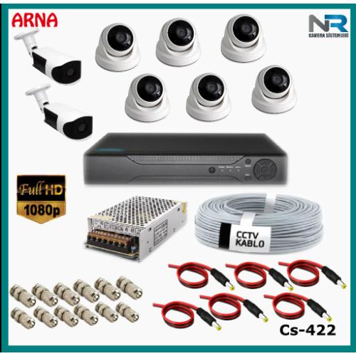 8 Kameralı (6 iç 2 dış) Güvenlik Kamerası Sistemi AHD 1080P ( Cs 422) Hardisksiz