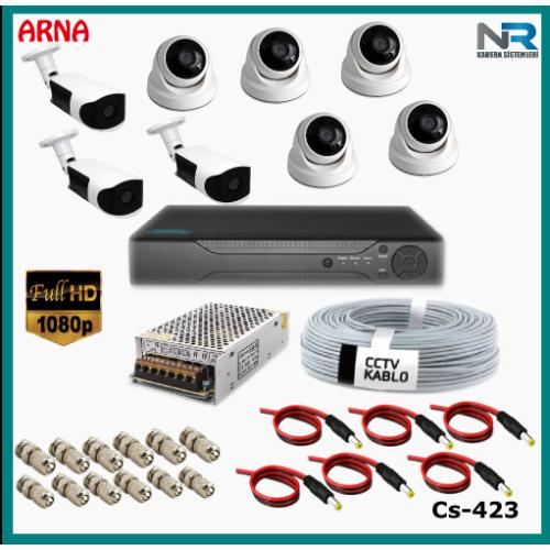 8 Kameralı (5 iç 3 dış) Güvenlik Kamerası Sistemi AHD 1080P ( Cs 423) Hardisksiz