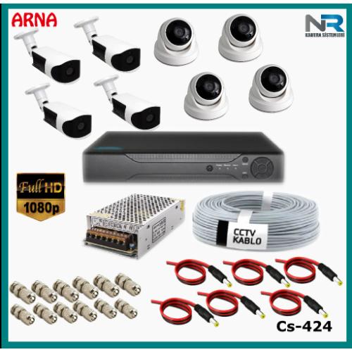 8 Kameralı (4 iç 4 dış) Güvenlik Kamerası Sistemi AHD 1080P ( Cs 424) Hardisksiz