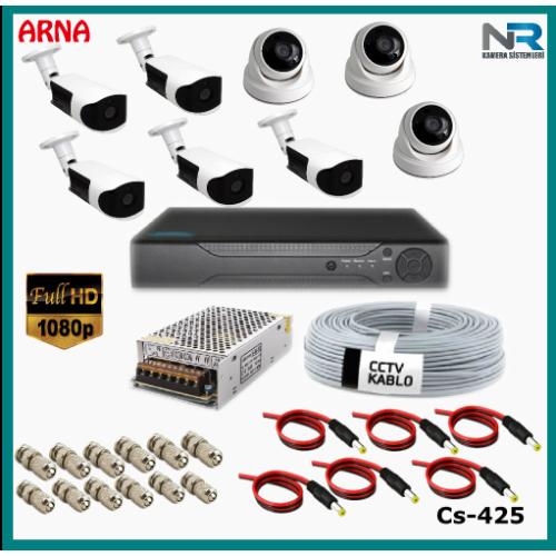 8 Kameralı (3 iç 5 dış) Güvenlik Kamerası Sistemi AHD 1080P ( Cs 425) Hardisksiz