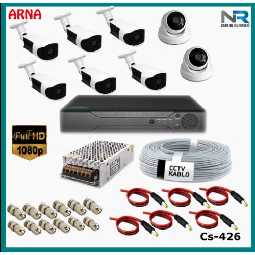 8 Kameralı (2 iç 6 dış) Güvenlik Kamerası Sistemi AHD 1080P ( Cs 426) Hardisksiz