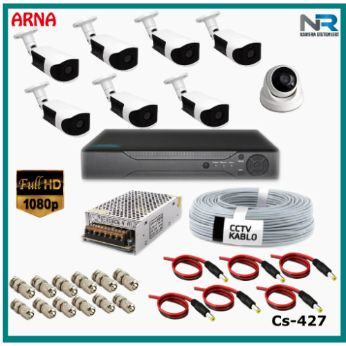 8 Kameralı (1 iç 7 dış) Güvenlik Kamerası Sistemi AHD 1080P ( Cs 427) Hardisksiz