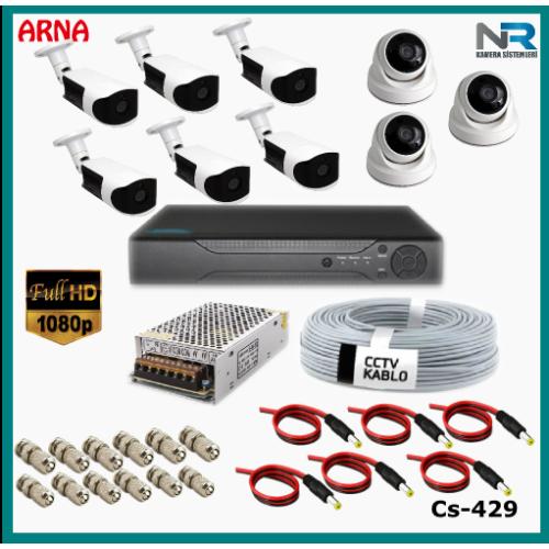 9 Kameralı (3 iç 6 dış) Güvenlik Kamerası Sistemi AHD 1080P ( Cs 429) Hardisksiz