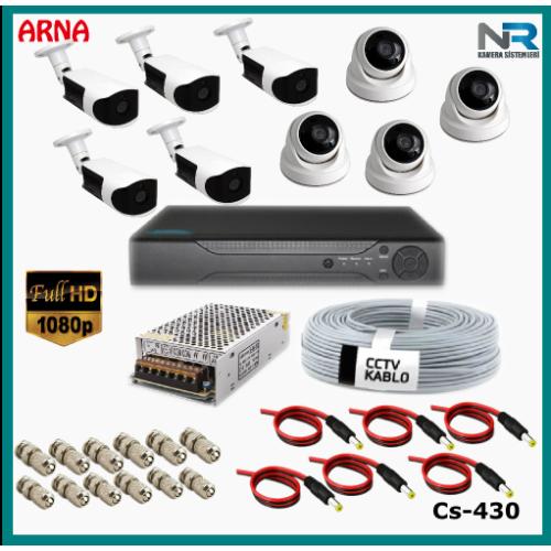 9 Kameralı (4 iç 5 dış) Güvenlik Kamerası Sistemi AHD 1080P ( Cs 430) Hardisksiz