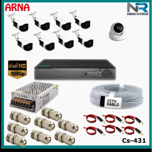 9 Kameralı (1 iç 8 dış) Güvenlik Kamerası Sistemi AHD 1080P ( Cs 431) Hardisksiz