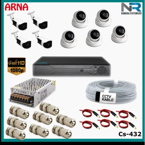 9 Kameralı (5 iç 4 dış) Güvenlik Kamerası Sistemi AHD 1080P ( Cs 432) Hardisksiz