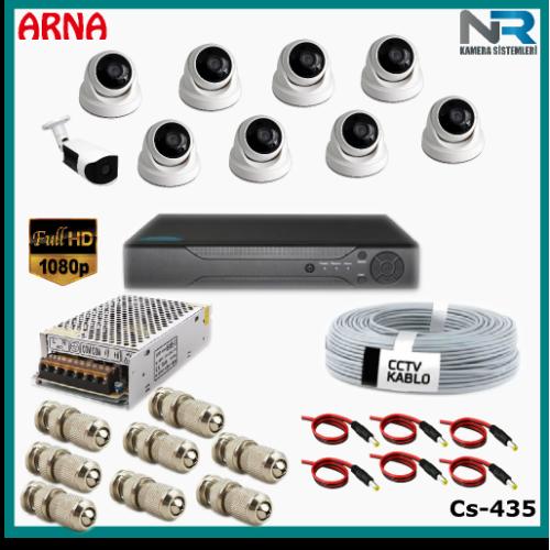 9 Kameralı (8 iç 1 dış) Güvenlik Kamerası Sistemi AHD 1080P ( Cs 435) Hardisksiz