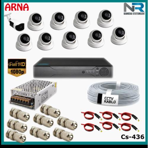 10 Kameralı (9 iç 1 dış) Güvenlik Kamerası Sistemi AHD 1080P ( Cs 436) Hardisksiz