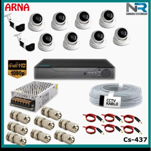 10 Kameralı (8 iç 2 dış) Güvenlik Kamerası Sistemi AHD 1080P ( Cs 437) Hardisksiz