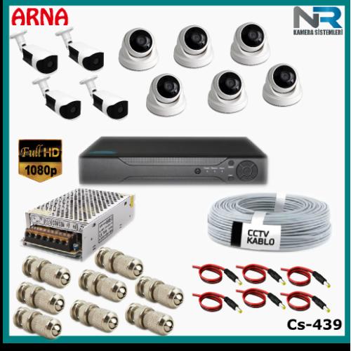 10 Kameralı (6 iç 4 dış) Güvenlik Kamerası Sistemi AHD 1080P ( Cs 439) Hardisksiz
