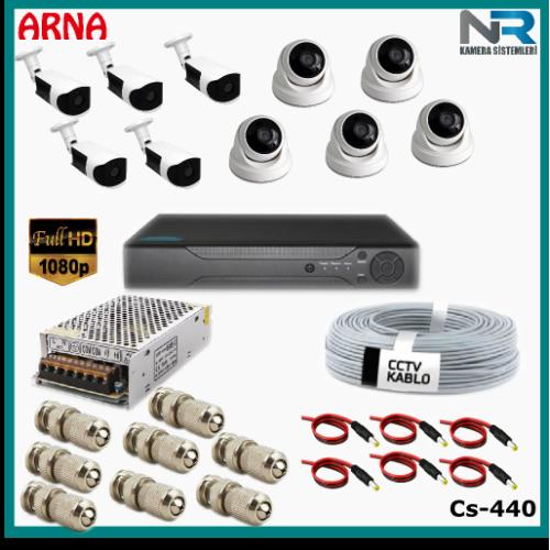 10 Kameralı (5 iç 5 dış) Güvenlik Kamerası Sistemi AHD 1080P ( Cs 440) Hardisksiz