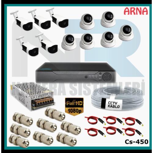 11 Kameralı (6 iç 5 dış) Güvenlik Kamerası Sistemi AHD 1080P ( Cs 450) Hardisksiz