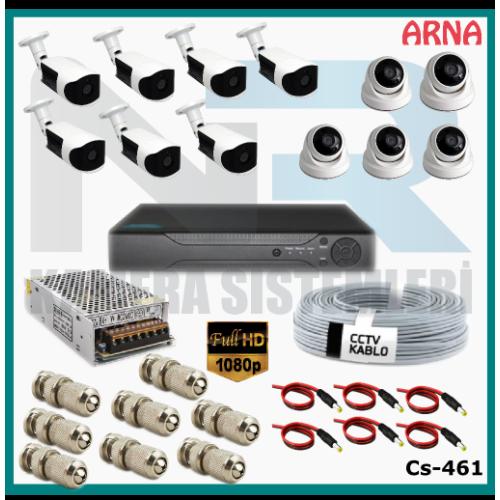 12 Kameralı (5 iç 7 dış) Güvenlik Kamerası Sistemi AHD 1080P ( Cs 461) Hardisksiz