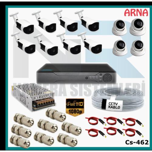 12 Kameralı (4 iç 8 dış) Güvenlik Kamerası Sistemi AHD 1080P ( Cs 462) Hardisksiz