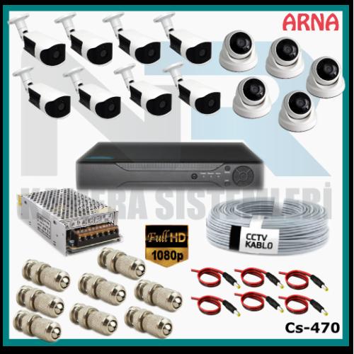 13 Kameralı (5 iç 8 dış) Güvenlik Kamerası Sistemi AHD 1080P ( Cs 470) Hardisksiz