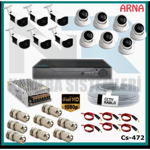 13 Kameralı (7 iç 6 dış) Güvenlik Kamerası Sistemi AHD 1080P ( Cs 472) Hardisksiz