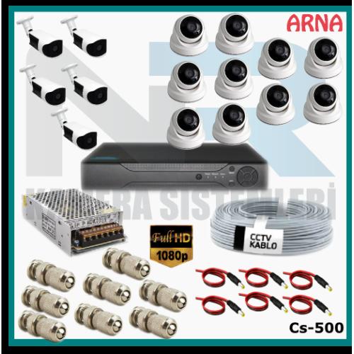 15 Kameralı (10 iç 5 dış) Güvenlik Kamerası Sistemi AHD 1080P ( Cs 500) Hardisksiz