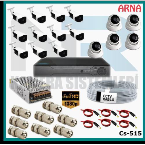 16 Kameralı (5 iç 11 dış) Güvenlik Kamerası Sistemi AHD 1080P ( Cs 515) Hardisksiz