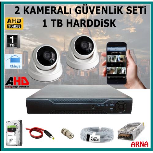 2 Kameralı Güvenlik Kamera Seti 1 Tb Hdd