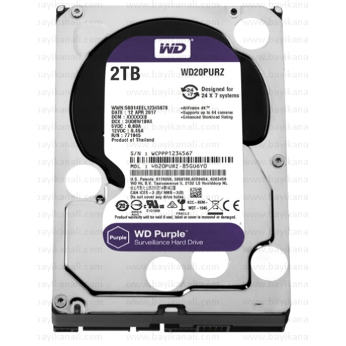 "2TB WD PURPLE 3,5""64MB 5400RPM 7/24 Güvenlik Diski"